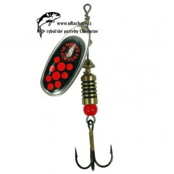 třpytka Mepps Black Furry - stříbrná/červená