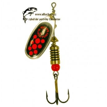 třpytka Mepps Black Furry - zlatá/červená